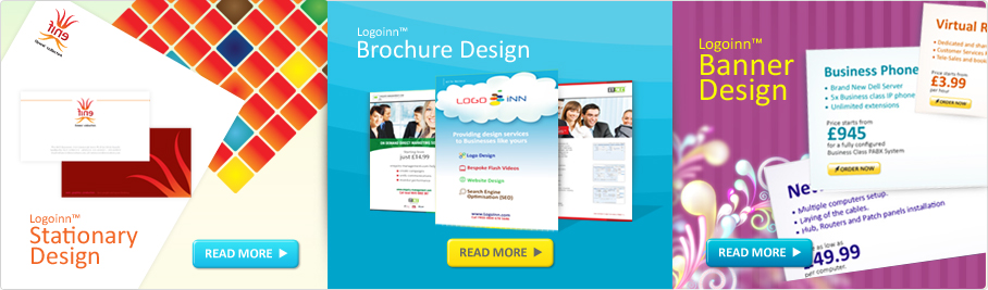 Banner displaying design services for Stationary, Brochure and Web banners