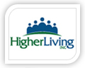 higher living logo design